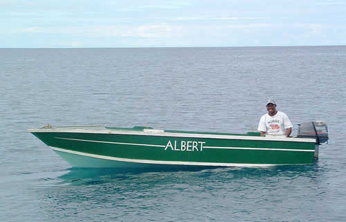 Friendly exchange with Portsmouth boat-boy Albert who was waiting offshore ...