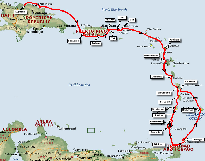 Cruising The Cribbean Map Showing Callipygias Route In 2003 Down Caribbean Island Chain To Trinidad