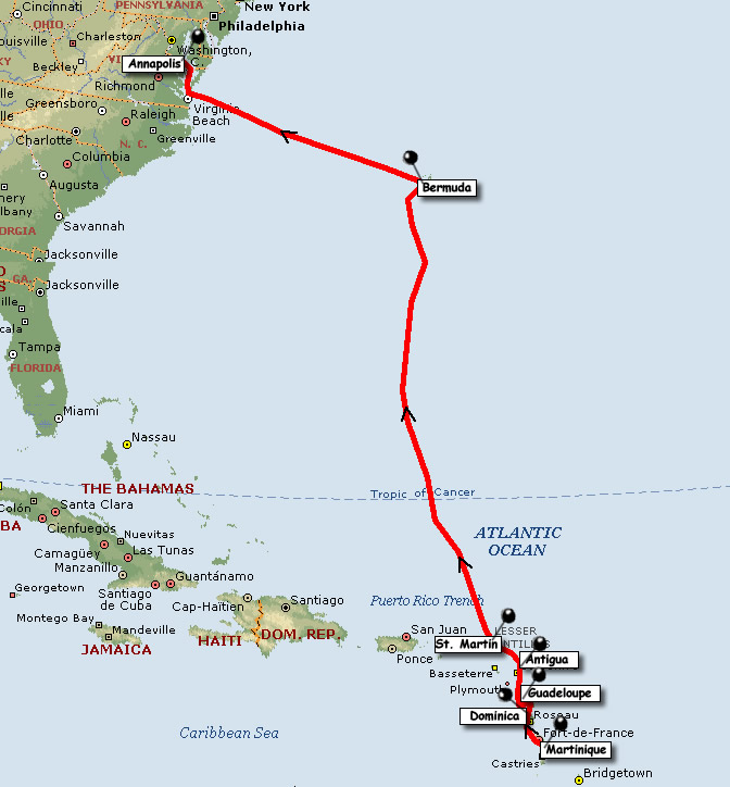 Map Of Callipyias Cruising Route Up The Caribbean Island Chain In