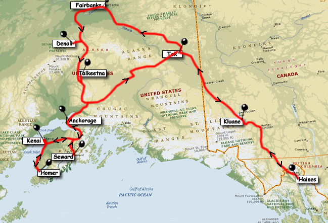 Slides Show of RV trip through Alaska and the Yukon – Alaska Tourist Map